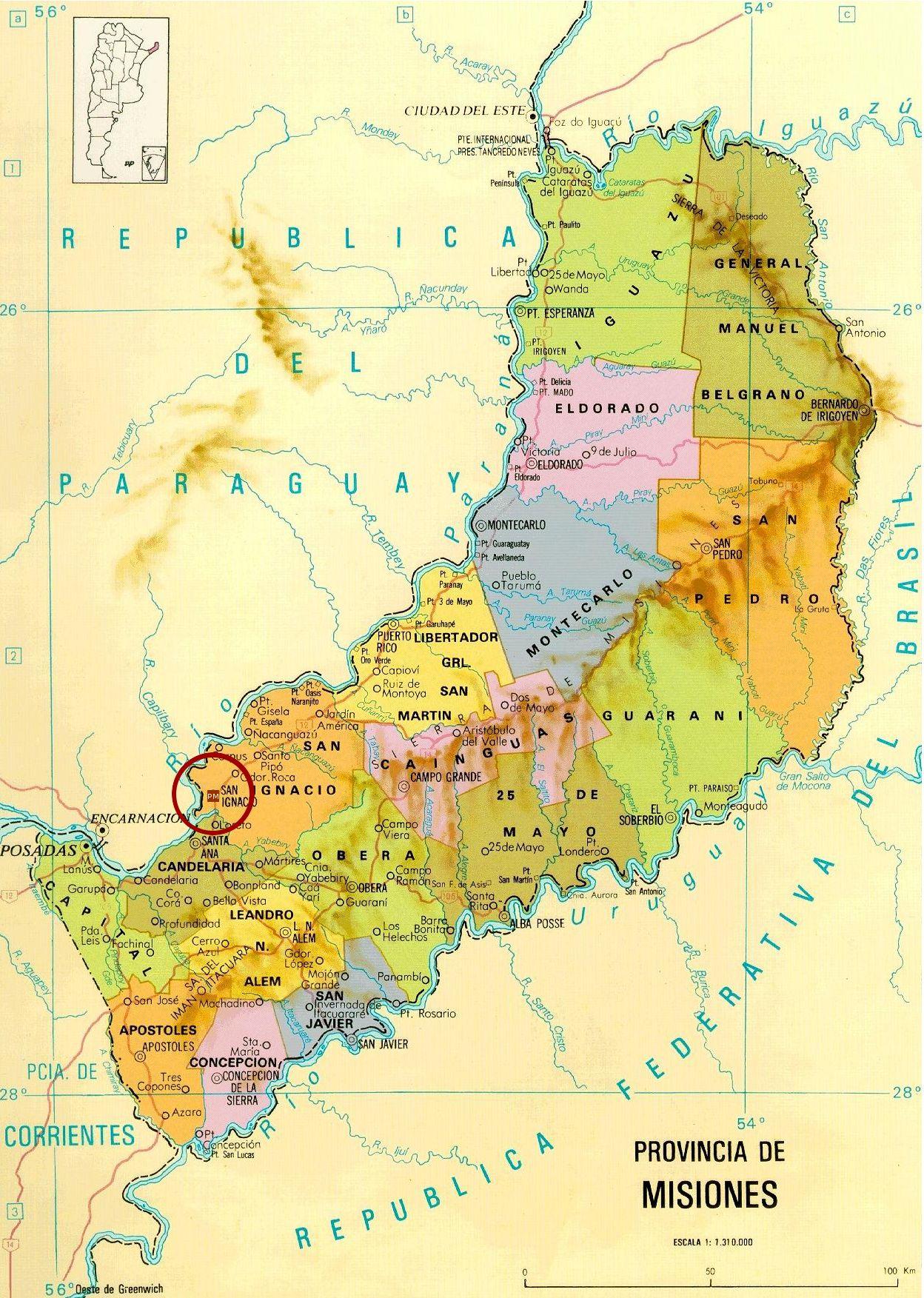 Alojamiento En CabanasSan Ignacio MisionesPragamisiones - Argentina misiones map
