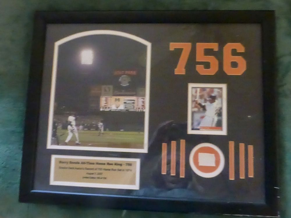 Unsigned Barry Bonds 756th Homerun Commemorative Plaque