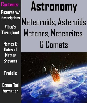 Comets, Meteors, Meteoroids, Meteorites, & Asteroids ...
