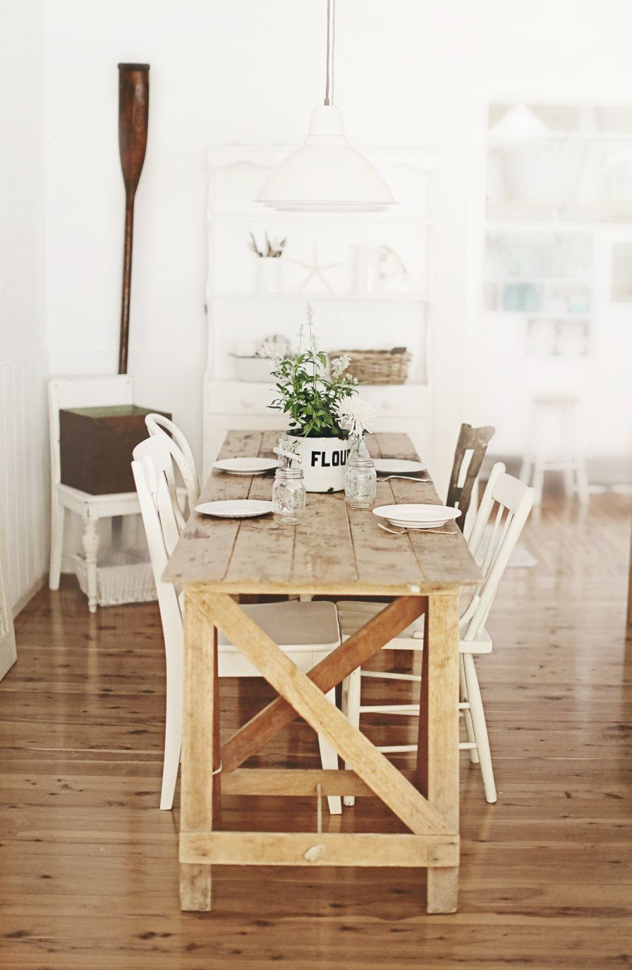 the schoolhouse table for coastal vintage beachy style vintage room