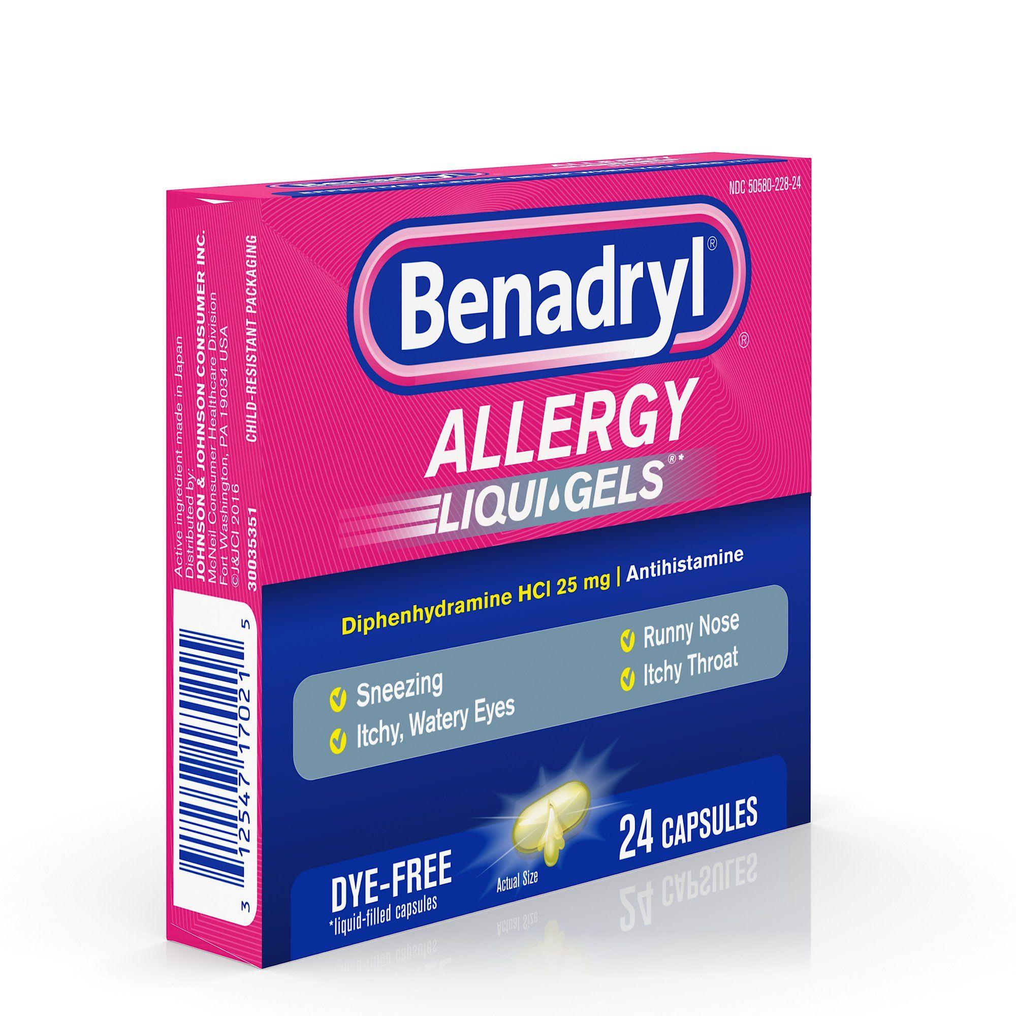 Benadryl Liqui Gels Antihistamine Allergy Medicine Dye Free 24 Ct Walmart Com Allergy Medicine Benadryl Allergies