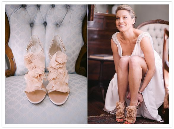 Peach Australian wedding: Nicola + Darren  Giuseppe Zanotti peach ruffle shoes