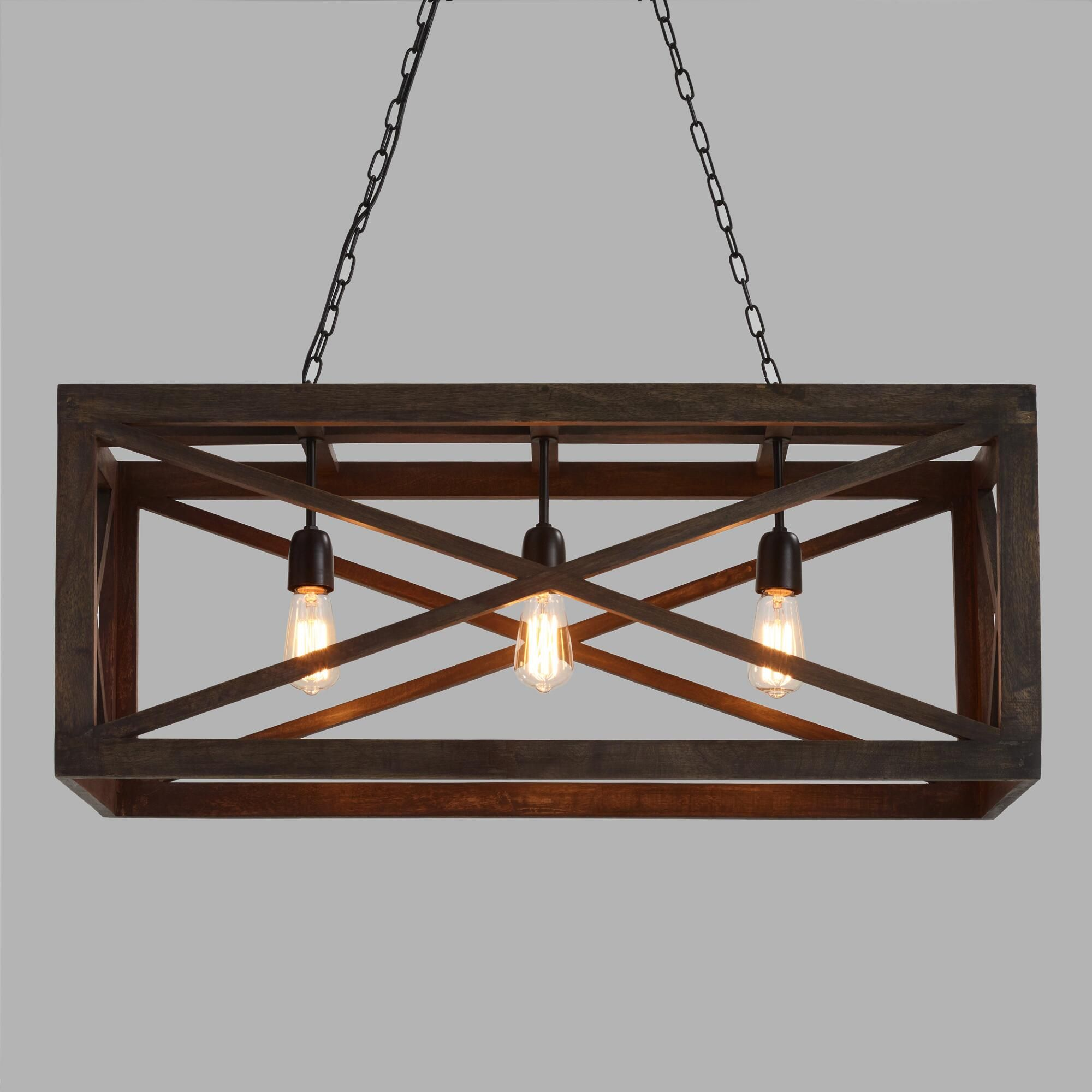 Rectangular Gray Wood 3 Light Valencia Chandelier In 2020 Rustic Kitchen Lighting Farmhouse Light Fixtures Dining Room Light Fixtures