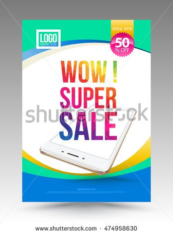 Super sale poster template with smartphone Vector illustration - for sale poster template