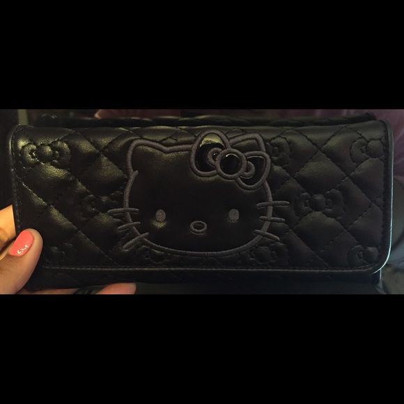 HELLO KITTY WALLET   HELLO KITTY WALLET! In great condition! Black with an amazing texture to it. Throw me some prices! Bags Wallets