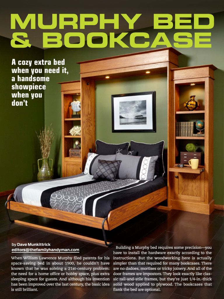 the family handyman decemberjanuary 2015 murphy bed bookcase - Recessed Panel Bedroom 2015