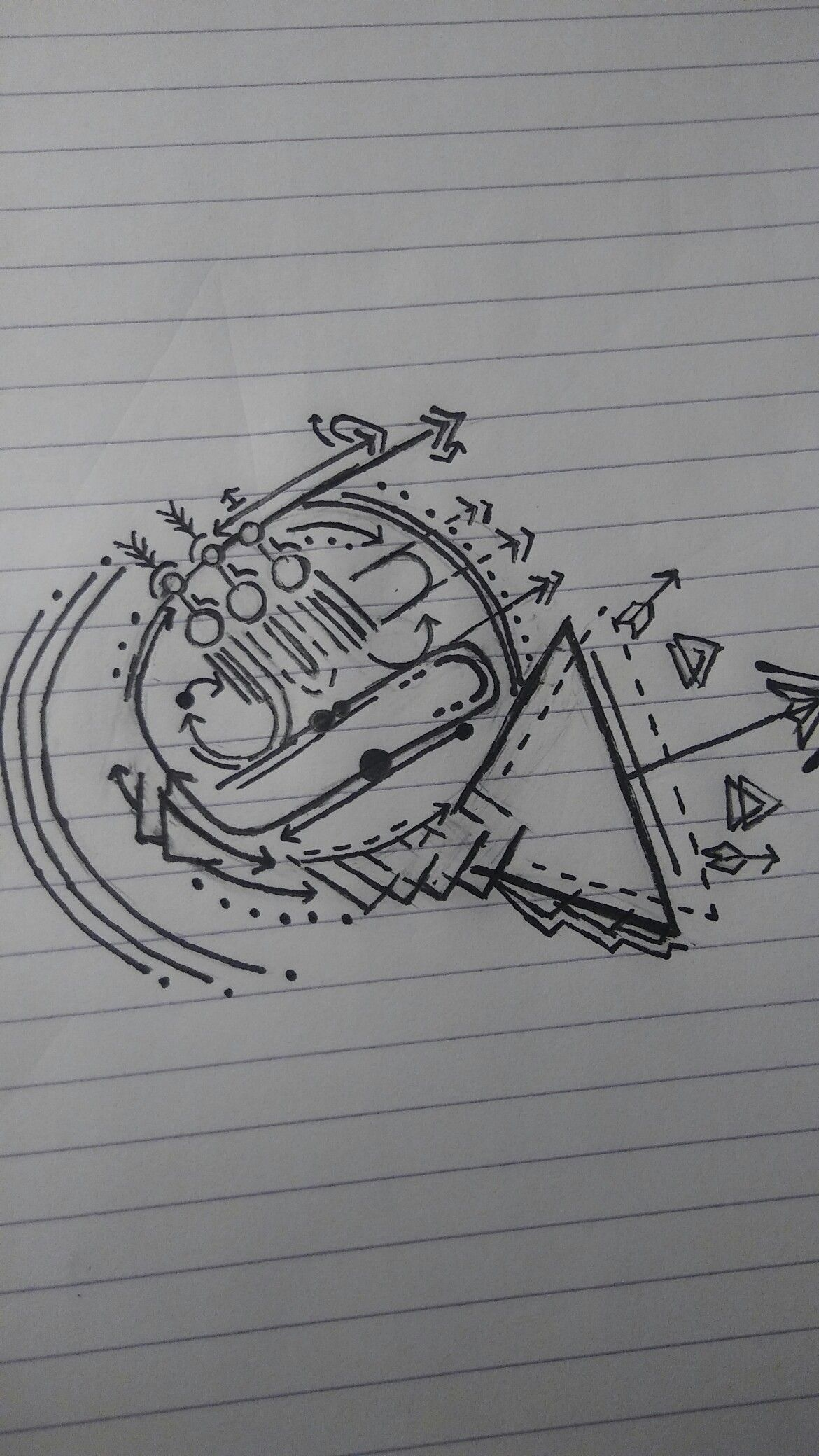 Geometric French Horn Tattoo idea. Tattoos in 2019