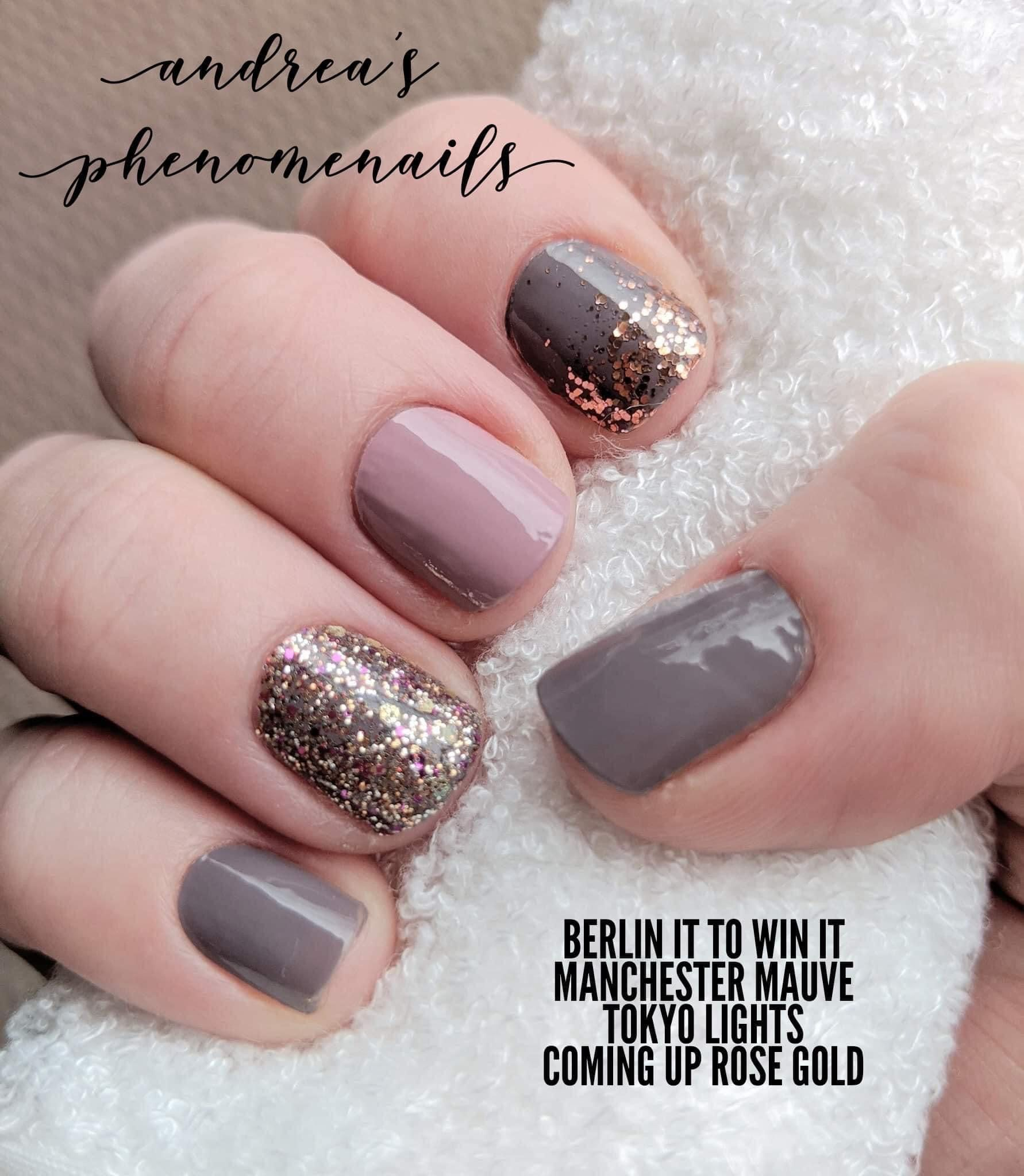 Berlin It To Win It Tokyo Lights Coming Up Rose Gold In 2020 Color Street Nails Nail Color Combos Pretty Nails
