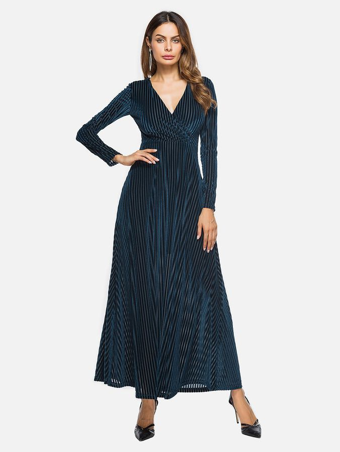 1dde037d4d Shein Deep V Neckline Surplice Velvet Maxi Dress | Products ...