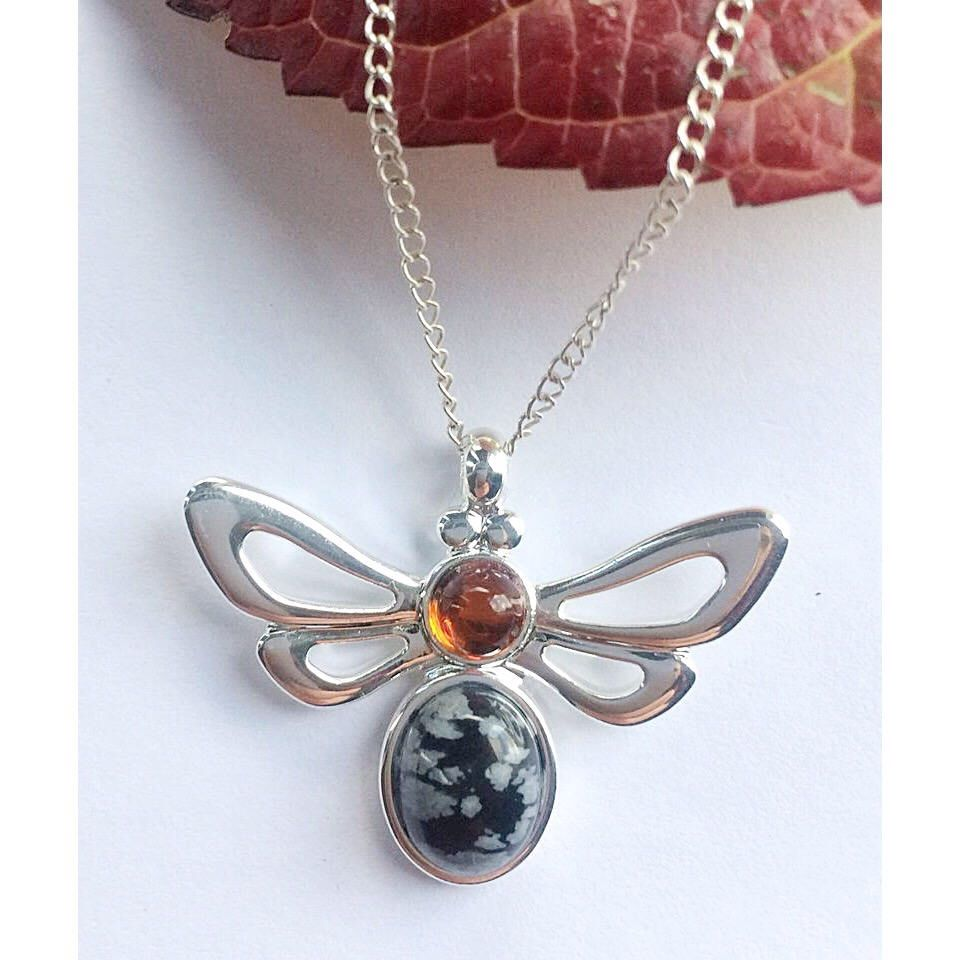 Beautiful Amber And Snowflake Obsidian Bee Necklace Honey Beekeeper Gifts