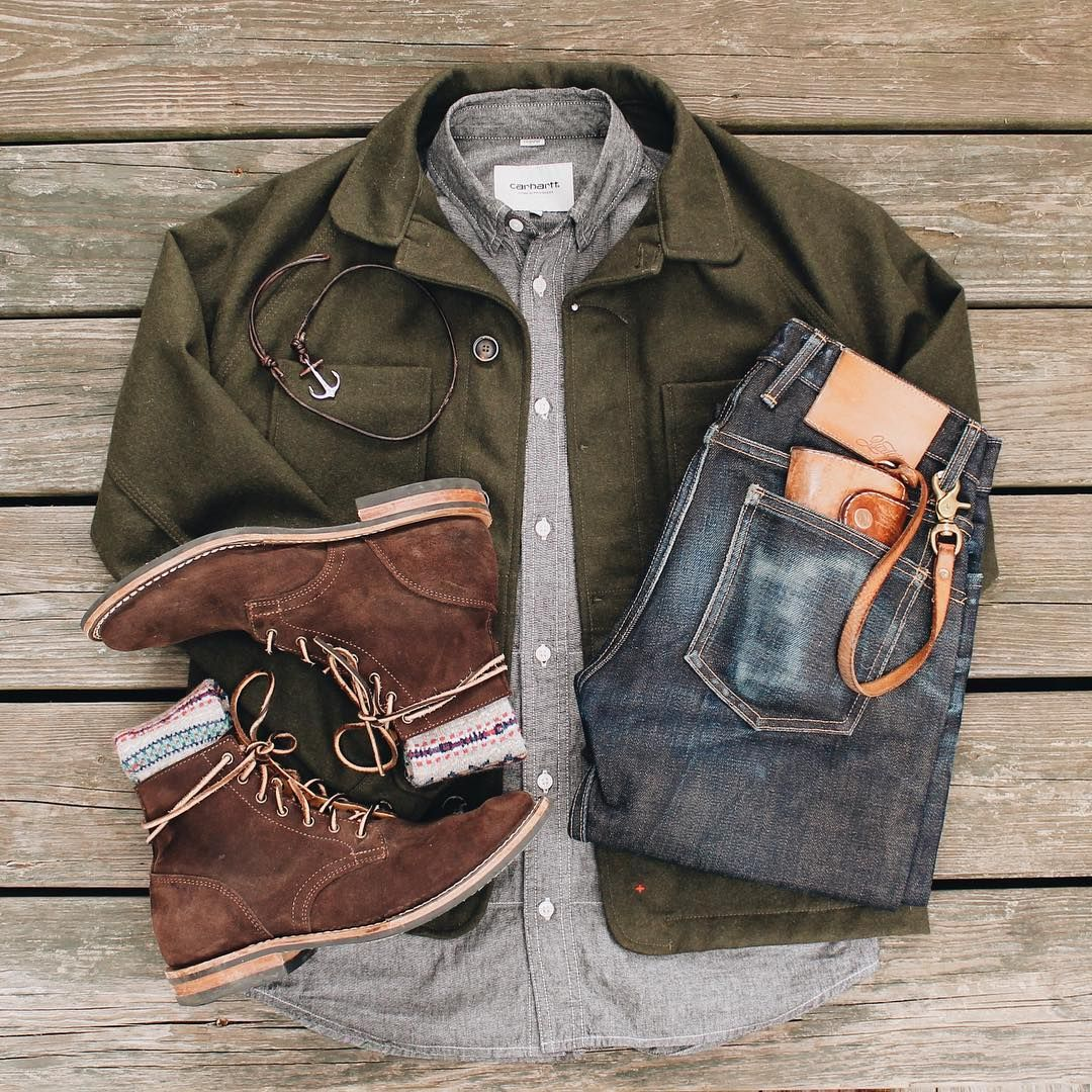 Mens Wear Rugged Layers Boots Chups Denim Leather Evanholahan See More Inspiration On My Instag Mens Outfits Mens Fashion Rugged Mens Winter Fashion