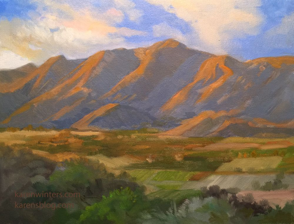 Ojai Afternoon Sunset oil painting - California impressionist landscape art. 9 x 12 inches oil ...