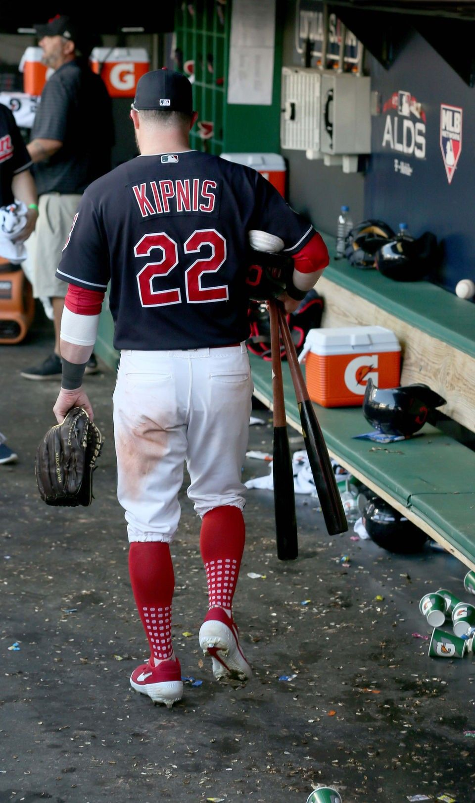 Cleveland Indians Jason Kipnis Grabbed His Baseball Gear In The Dugout And Headed To To The Locker Room A Youth Baseball Gloves Cleveland Indians Baseball Gear