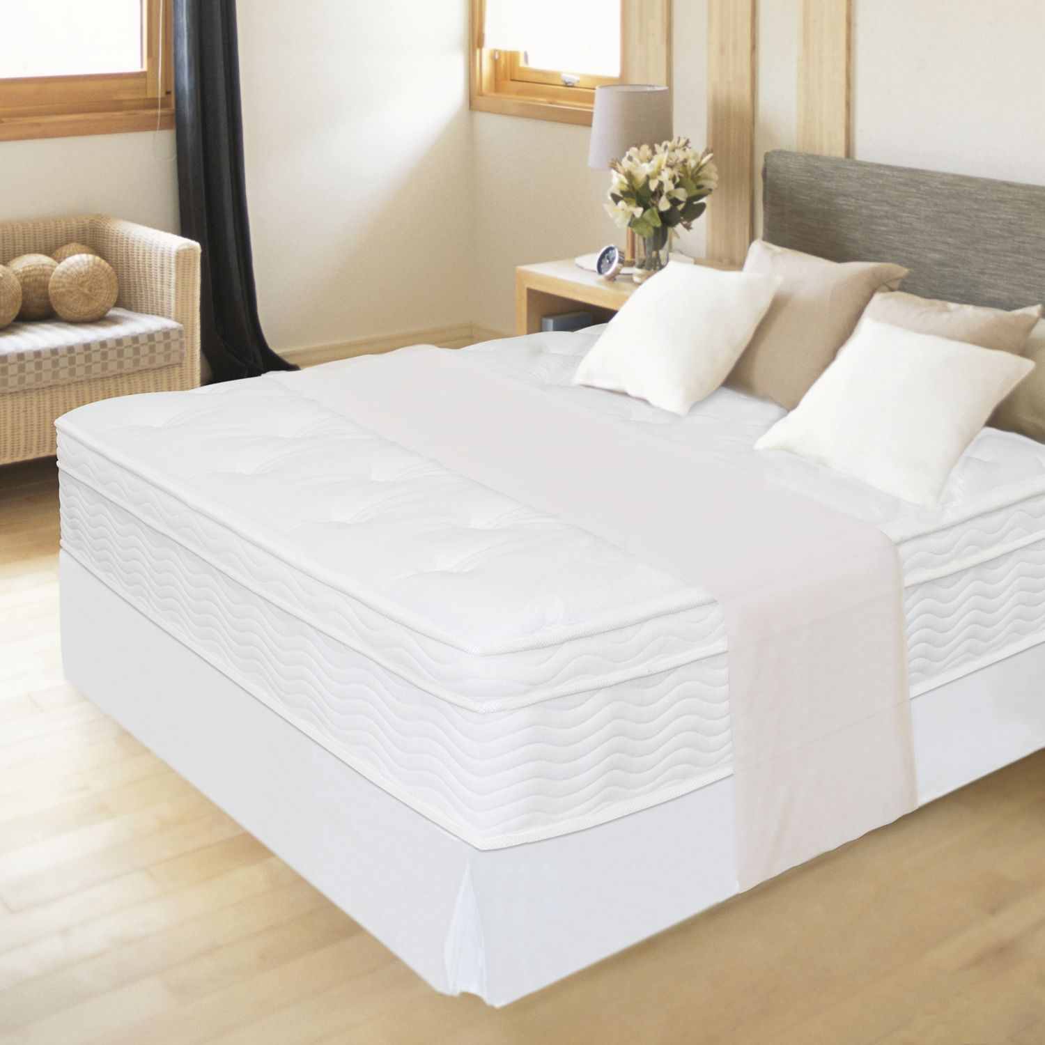 12 Night Therapy Euro Box Top Spring Mattress Bed Frame Set King Sam S Club Bed Frame Sets Bed Frame Mattress Bed Frame