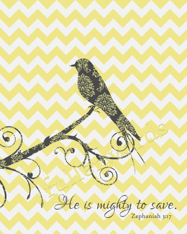 Chevron Bird - Mighty to Save Zephaniah 3:17 - Digital Printable ...