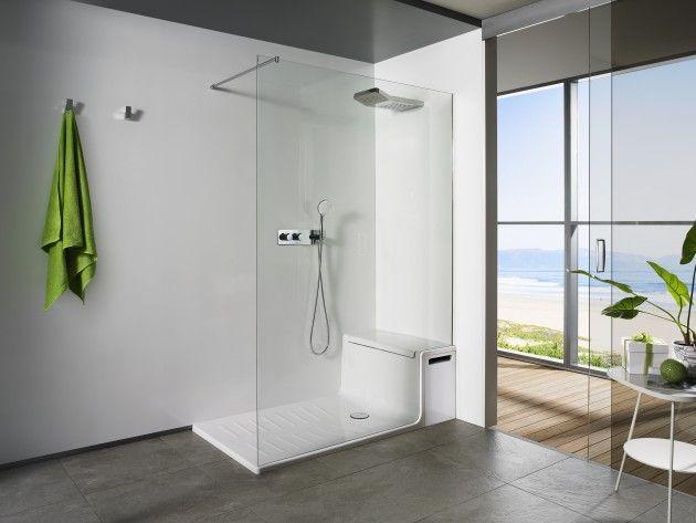 Salle de bain compos e d 39 une douche l 39 italienne avec - Siege pour douche italienne ...