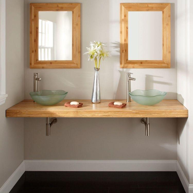 meuble salle de bain bambou et accessoires en 50 id es double vasque vasque et bambou. Black Bedroom Furniture Sets. Home Design Ideas