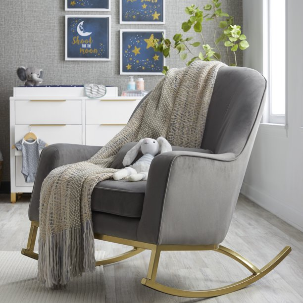 Modrn Glam Velvet Rocking Chair Off White With Satin Brass Walmart Com In 2020 Rocking Chair Nursery White Rocking Chairs Living Room Rocking Chairs