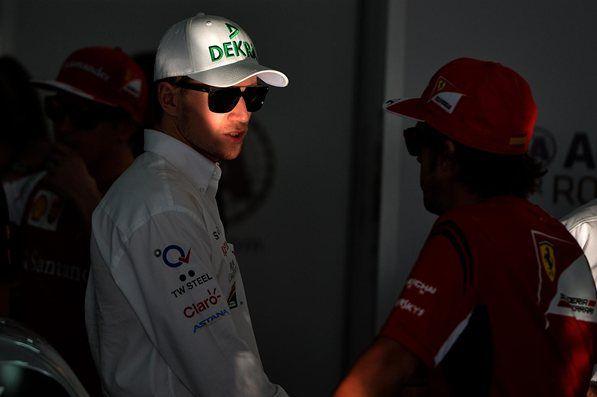 Nico Hulkenberg Sahara Force India & Fernando Alonso Scuderia Ferrari