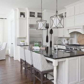 White Kitchen Island With Black Countertop And Gray Curved Arm Prepossessing Kitchen Island Counter Design Decoration