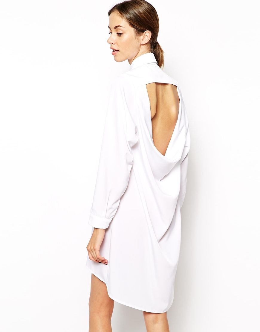 The Laden Showroom X Mirror Mirror Open Cowl Back Shirt Dress