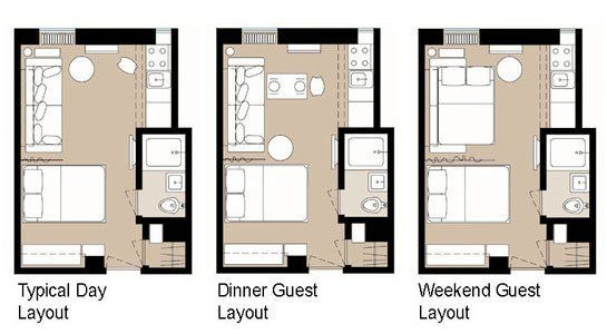5 Smart Studio Apartment Layouts | tiny studio planning ...