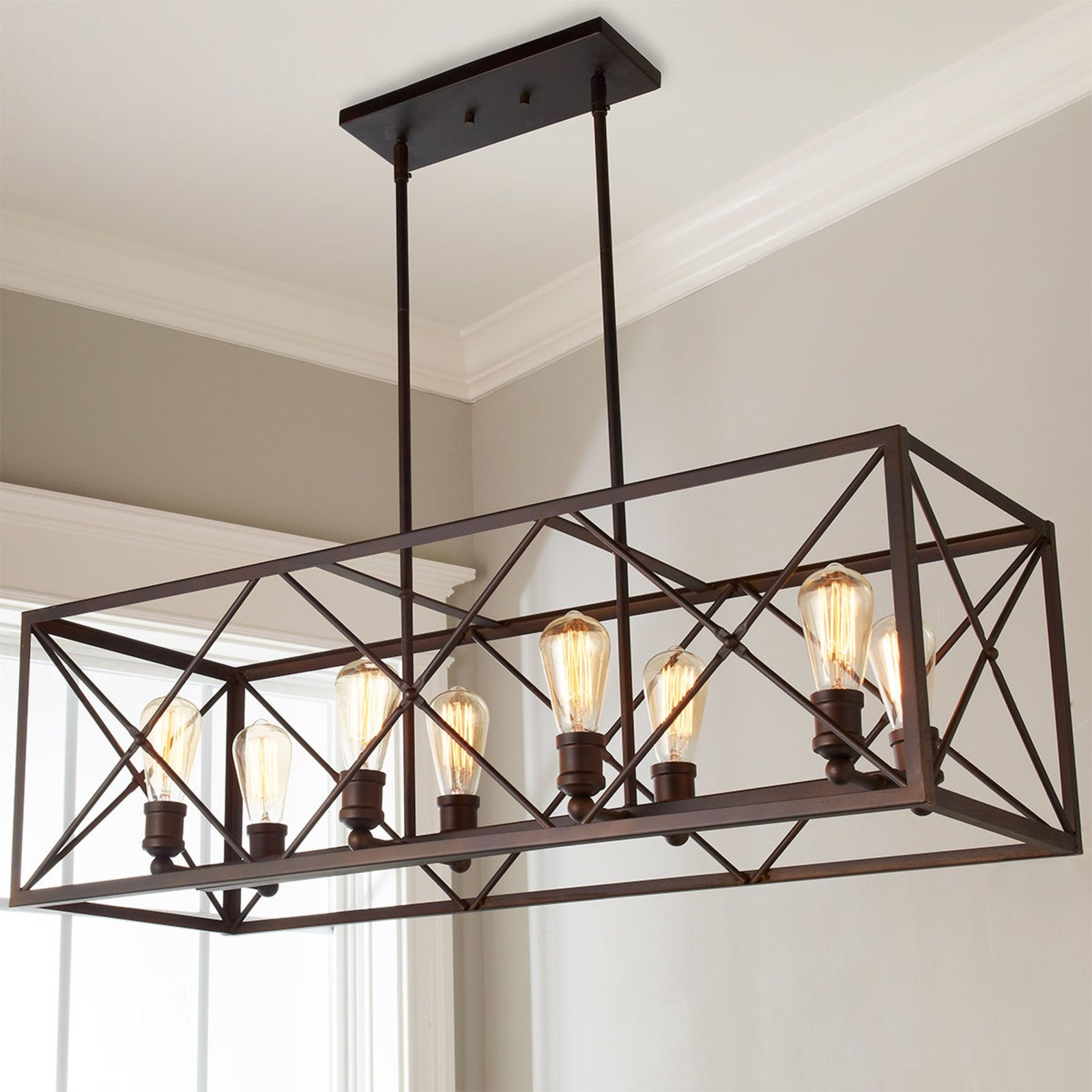 industrial cross framed box island chandelier in 2018 | lighting