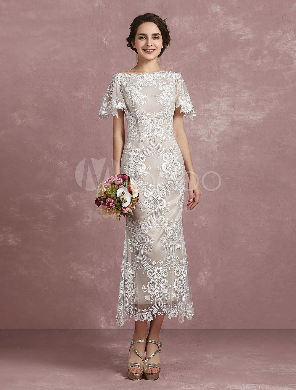 Summer wedding dresses champagne lace mermaid bridal gown off