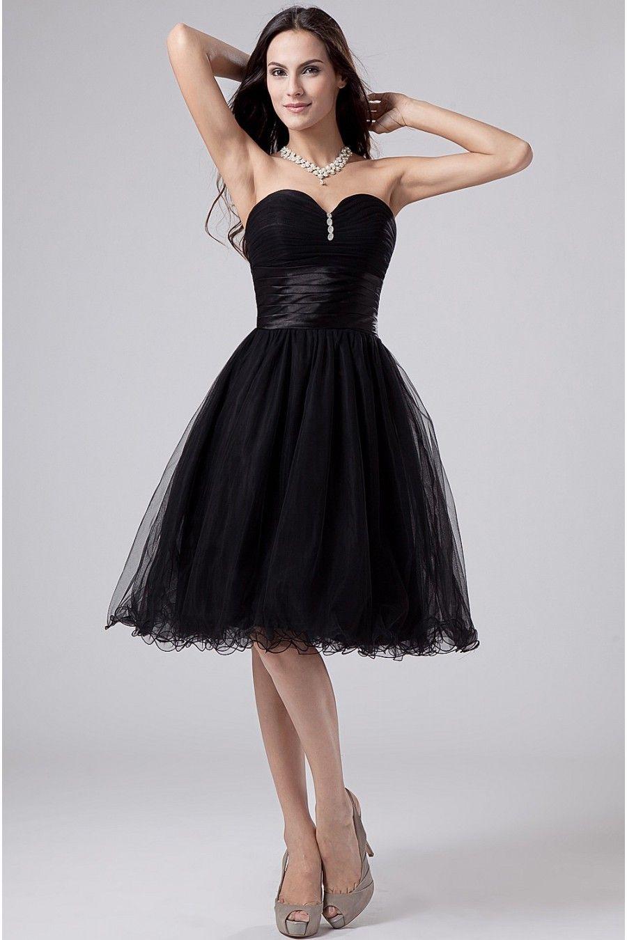 2a45effaef602a Schwarz Herz Ausschnitt Tüll Perlen Kurzes Abendkleid $246.99 Abendkleider  Knielang