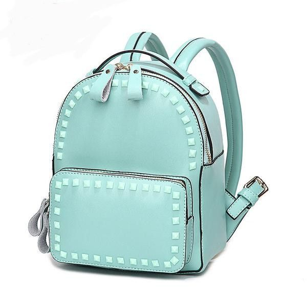 9c30b29845 Genuine Leather Medium-Capacity High-Quality Rivet Accent Preppy-Style  Backpack 5 Colors 2 Styles