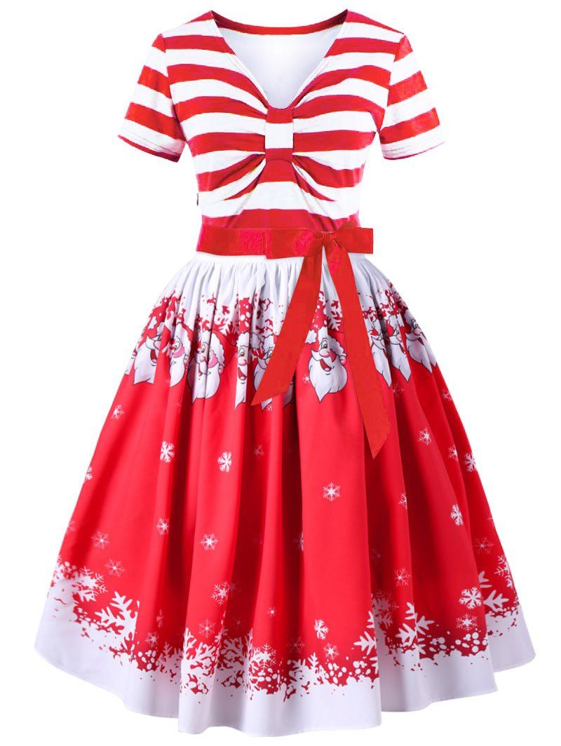Christmas plus size striped empire waist swing dress empire