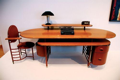 Frank Lloyd Wright Design Office Furniture, Johnson Wax Building. Racine, WI