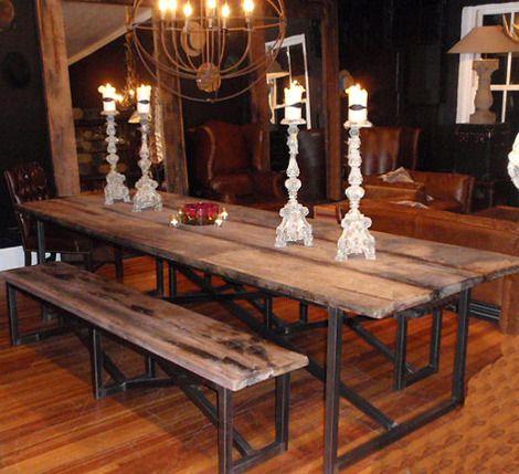 Vintage Industrial Reclaimed Wood Dining Table