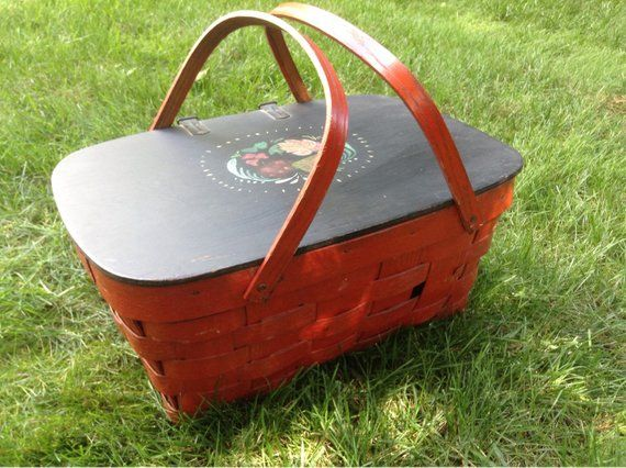 Vintage Red And Black Painted Picnic Basket Wood Hinged Cover And