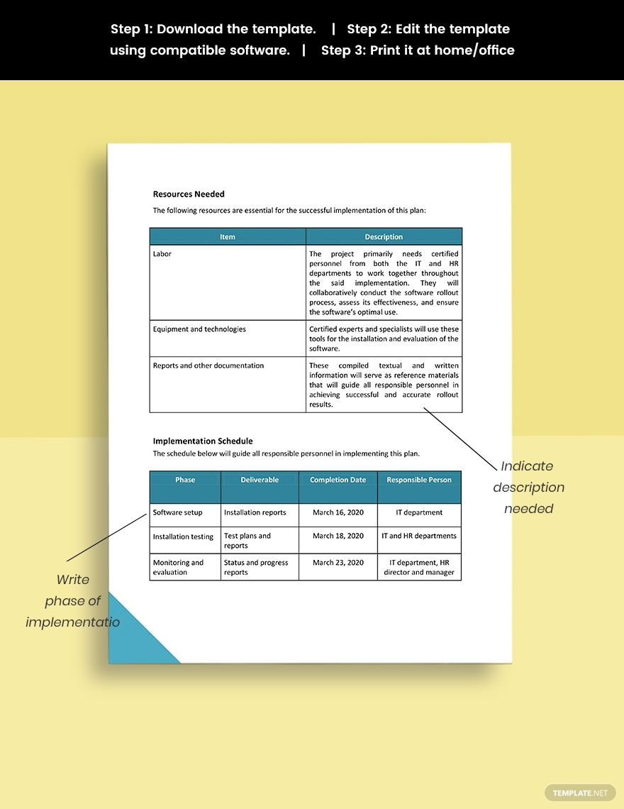 Software Rollout Plan Template in 2020 Marketing plan