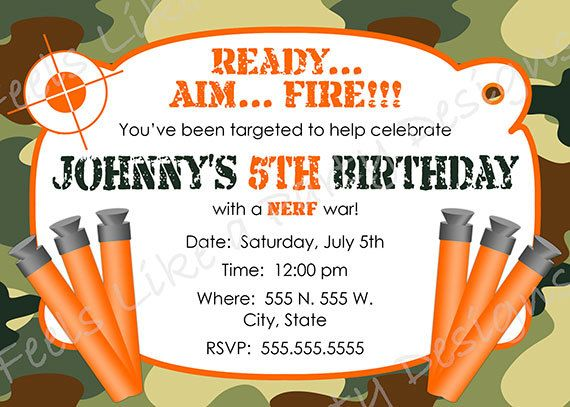 Custom Nerf and Camouflage Birthday Invitation by FeelsLikeAParty, $12.00. For Canon's 4th.