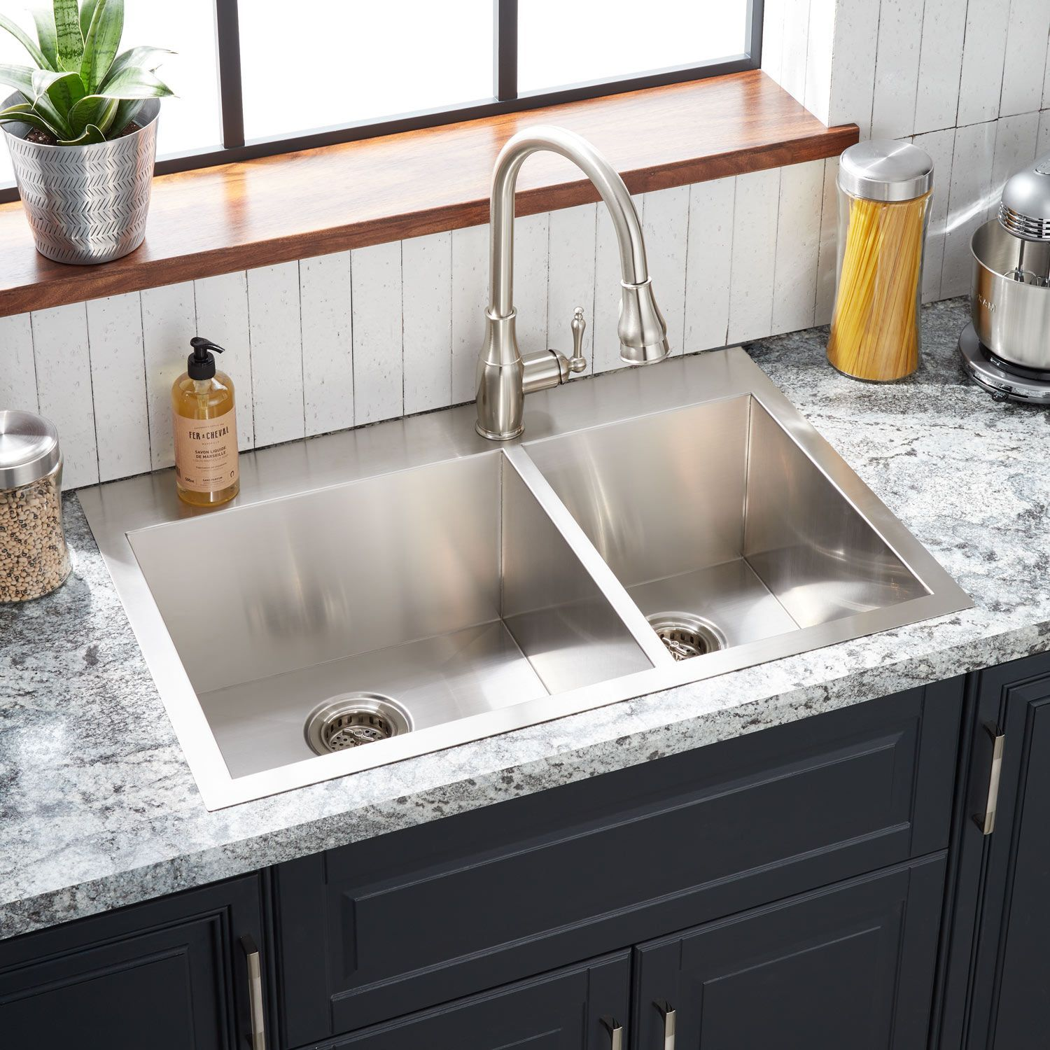 33 Sitka Offset Double Bowl Stainless Steel Drop In Sink Single