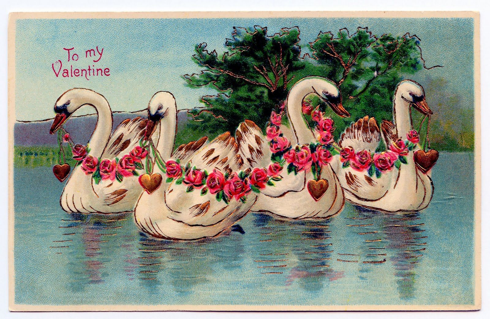 Free Valentine S Day Clip Art Lady Swans And Ring Vintage