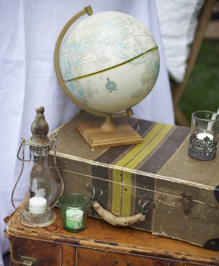 mottoparty ideen deko afrika globus koffer kerzen laterne afrika pinterest mottoparty. Black Bedroom Furniture Sets. Home Design Ideas