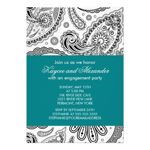 Modern Teal Paisley Engagement Party Invitations