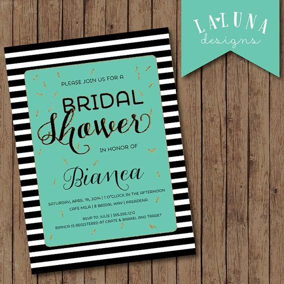 Bridal Shower Invitation, Black & White Stripes, Gold Confetti Bridal Shower, Gold Glitter Bridal Shower Invite