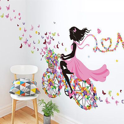 Girl & Flower Wall Art Sticker Vinyl Decal DIY Room Home Mural Decor Removable
