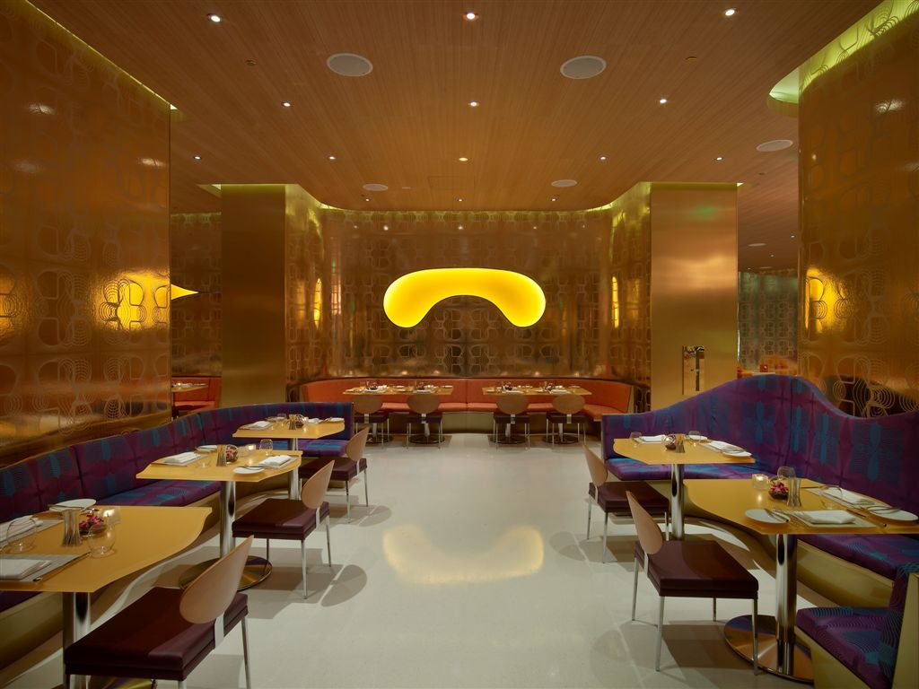 opulent luxury restaurant interior design gold pattern walls purple and blue booths red - Blue Restaurant Ideas