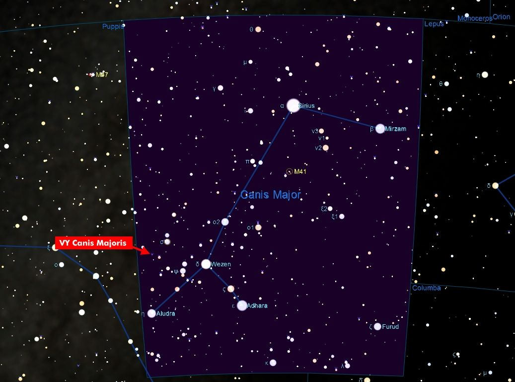 VY Canis Majoris Location In The Canis Major Constellation ...  VY Canis Majori...