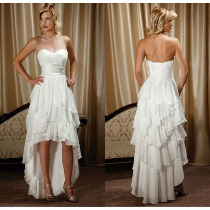 cheap 2016 sweetheart short front long back wedding dresses chiffon high low country western wedding gowns custom made as low as 8041 also buy dresses