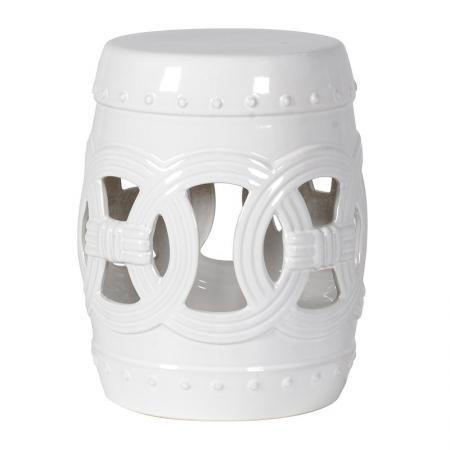 White Ceramic Matador Stool / Drum Table