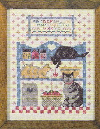 Country Stitching House Cats  Stamped Cross Stitch Kit