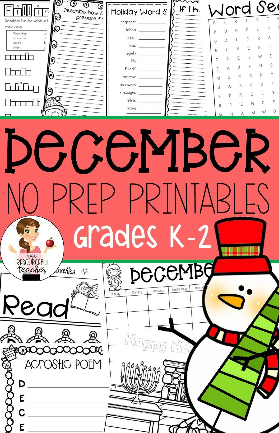 December Winter Holiday No Prep Activities Packet K 2nd