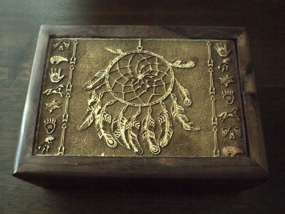 Dreamcatcher Wood Box  Altar tool Native by EsotericAromas on Etsy