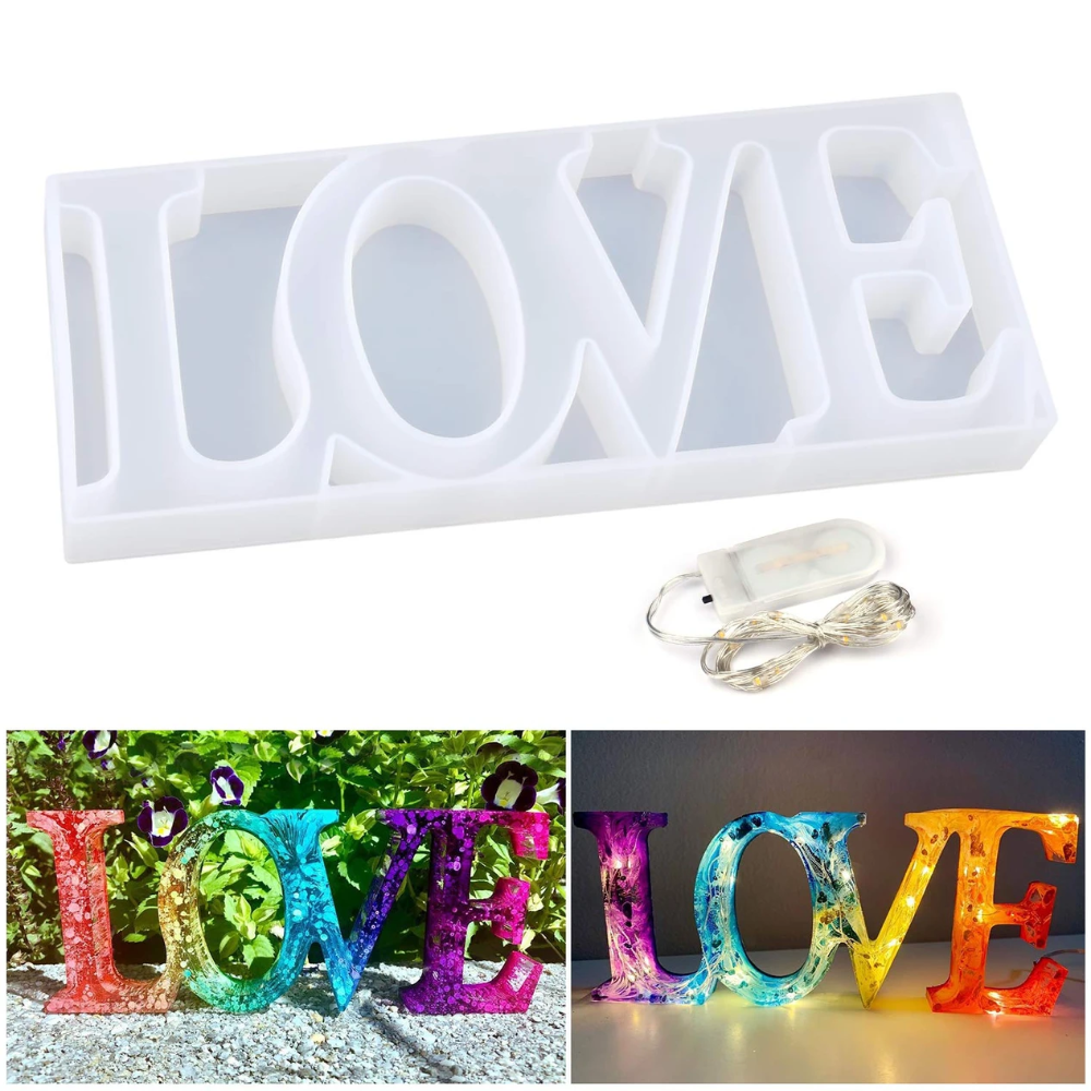 Photo of Love Sign Molds Resin Molds for DIY Table Decoration with Fairy String Light